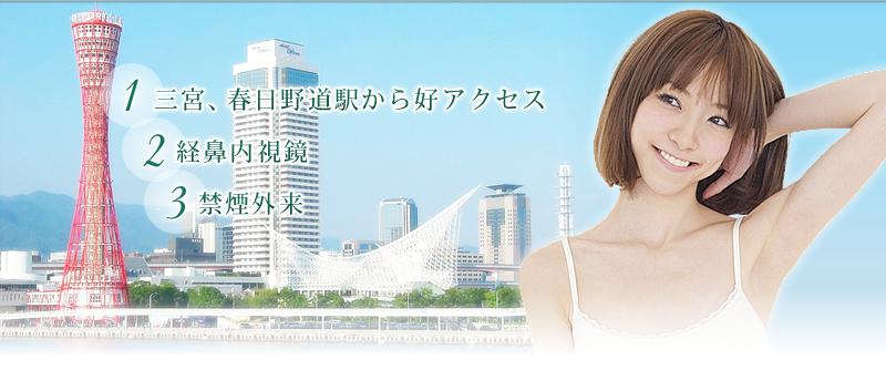 神戸市中央区春日野道駅付近の内視鏡(胃カメラ)と禁煙外来は当院まで